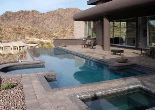 Negative Edge Pool In California Desert Landscape
