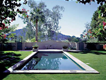 Rectangular Pool Surrounded by Grass