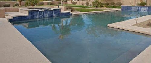 L-Shaped Pool w/ Spa & Blue Tile