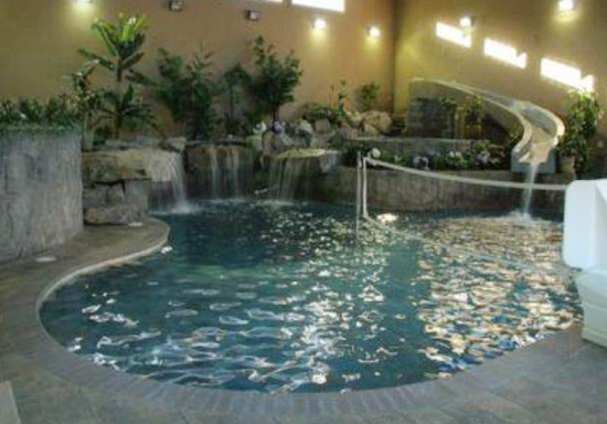 Indoor pool w slide for Swimming pool designs with slides