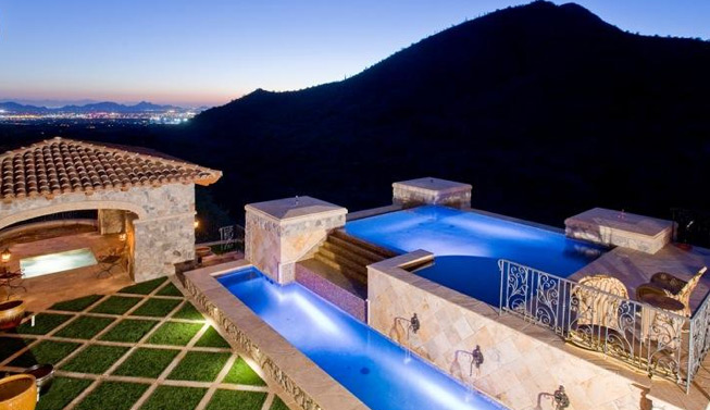 Pool & Spa with View, Overlooking City Lights