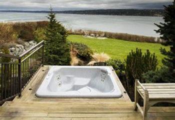 Spa in Wood Deck Overlooking Lake