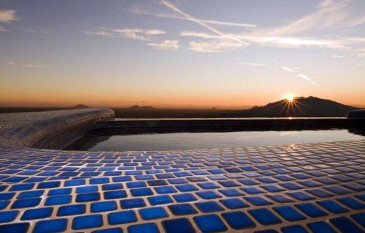 Blue tile pool deck in utah